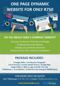 One Page Website Advert 2018