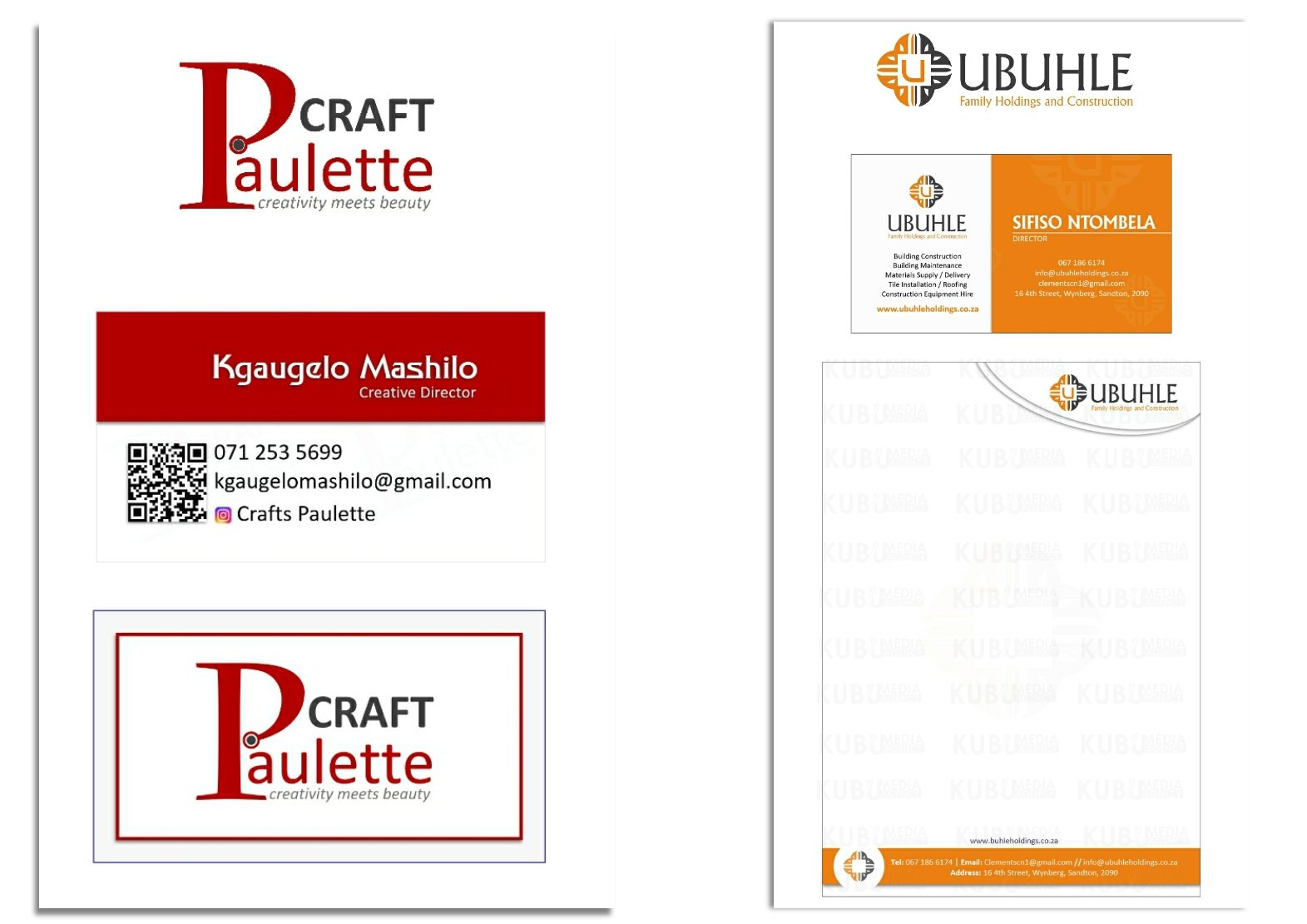 Company Branding Logo - Business Card - Letterhead - Design set by Kubumedia Graphic and Web Design Pretoria - Centurion - Sandton - South Africa